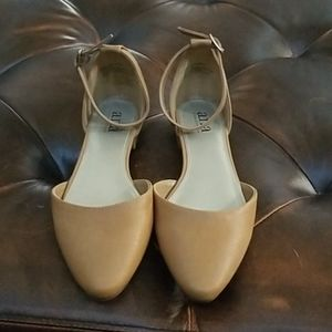 Size 6.5 Ana shoes flats with ankle strap tan